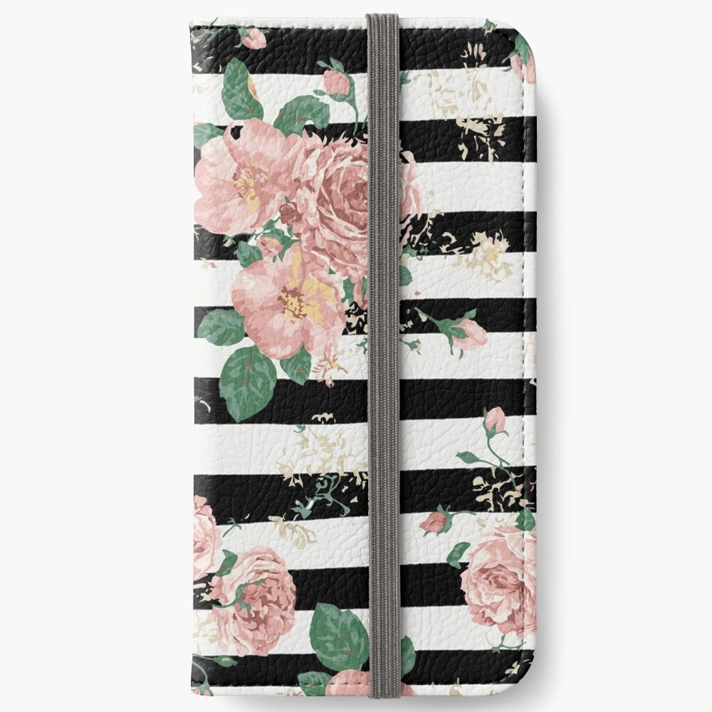 VINTAGE FLORAL ROSES BLACK AND WHITE STRIPES Fundas tarjetero para iPhone