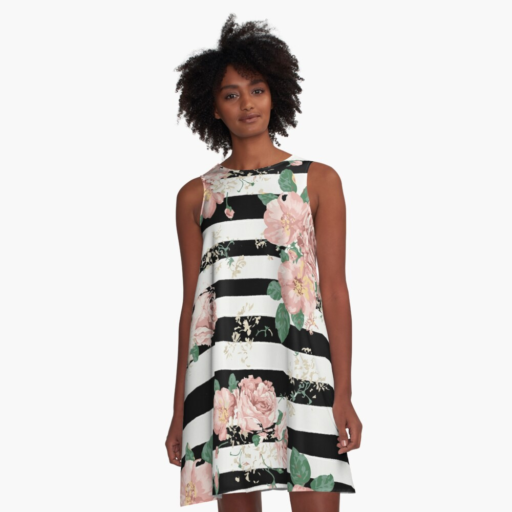 VINTAGE FLORAL ROSES BLACK AND WHITE STRIPES Vestido acampanado