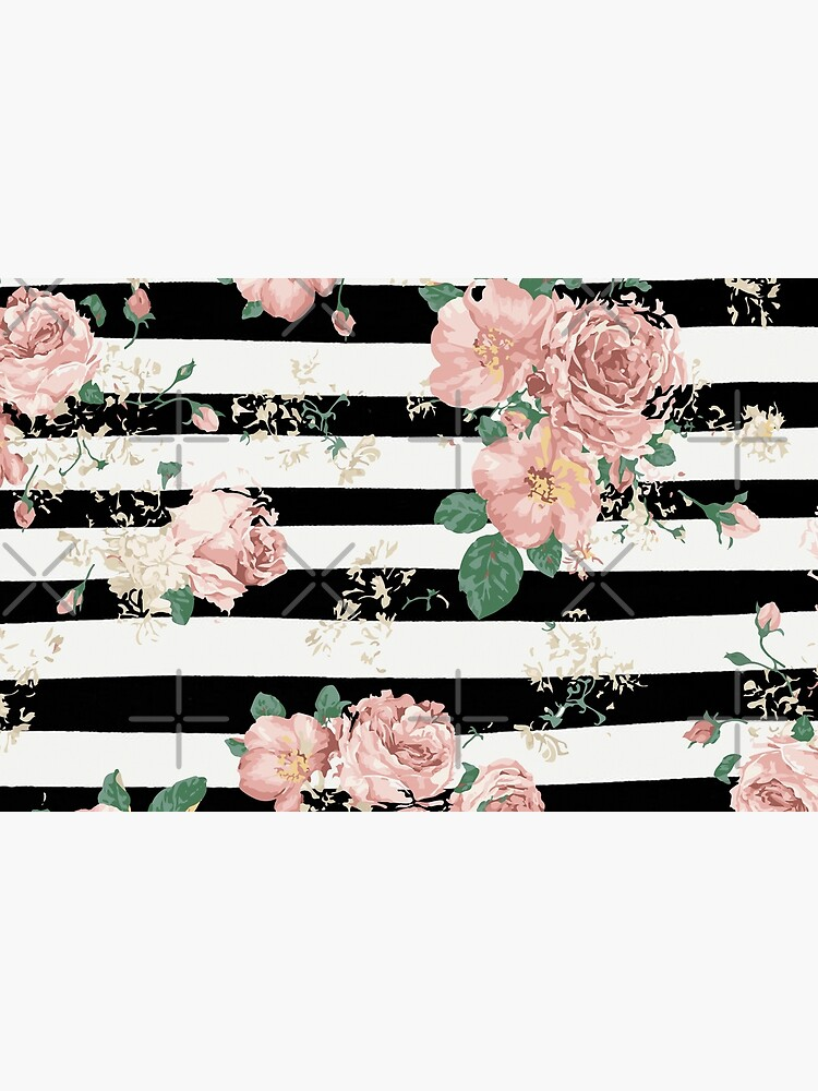 VINTAGE FLORAL ROSES BLACK AND WHITE STRIPES by xiari