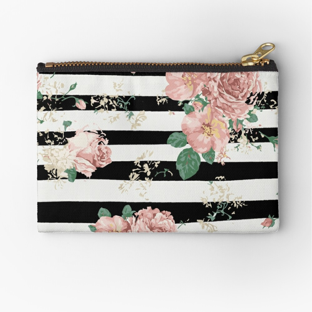 VINTAGE FLORAL ROSES BLACK AND WHITE STRIPES Zipper Pouch