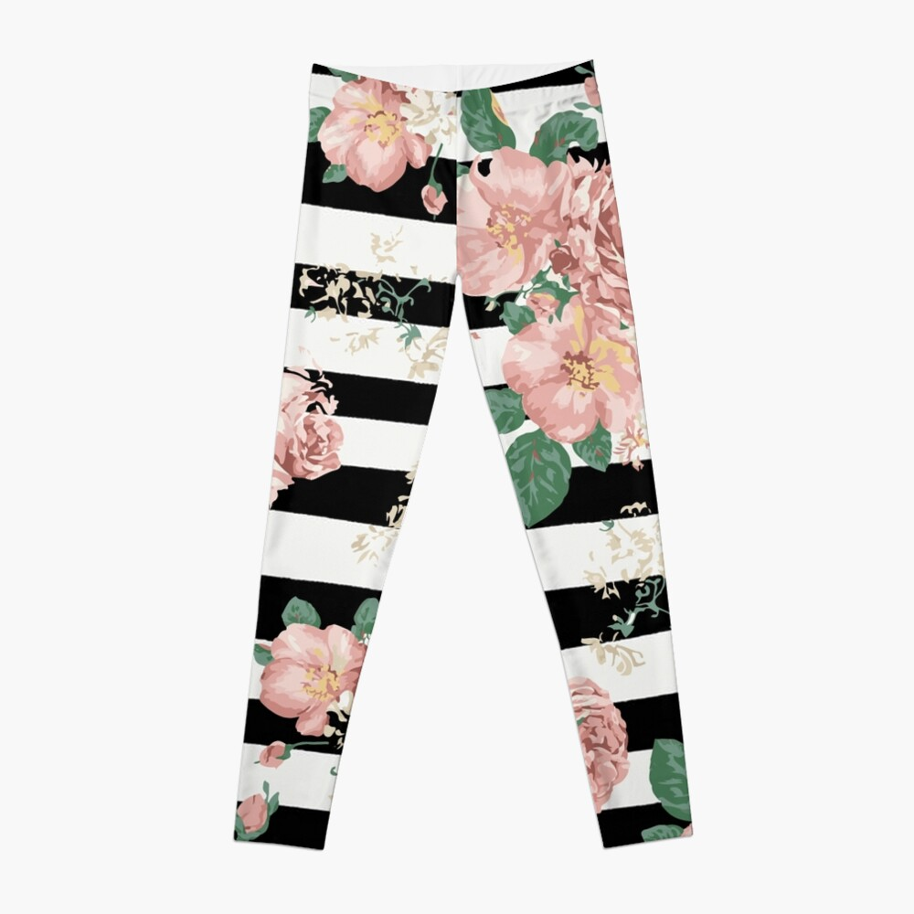 VINTAGE FLORAL ROSES BLACK AND WHITE STRIPES Leggings