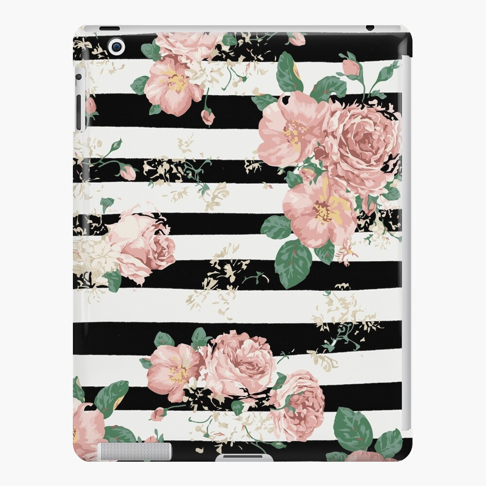 Vintage Floral Roses Black And White Stripes Ipad Case Skin By