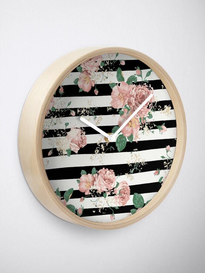 Vista alternativa de Reloj VINTAGE FLORAL ROSES BLACK AND WHITE STRIPES