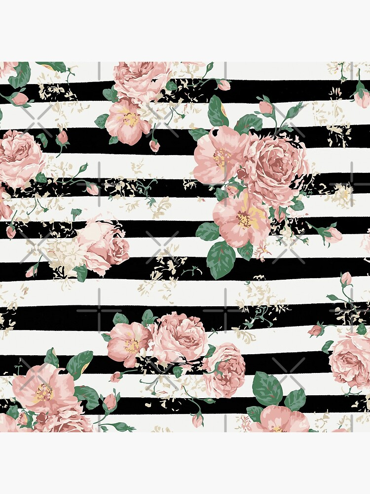 VINTAGE FLORAL ROSES BLACK AND WHITE STRIPES de xiari