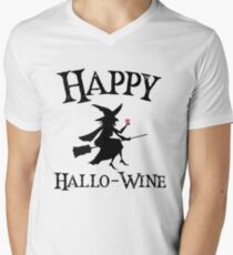 Spooky Halloween Witch On a Broomstick Happy Hallo-Wine Black Text Art Graphics Design T-Shirt