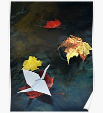 Origami paper crane on autumn leaf in a stream art photo print Poster