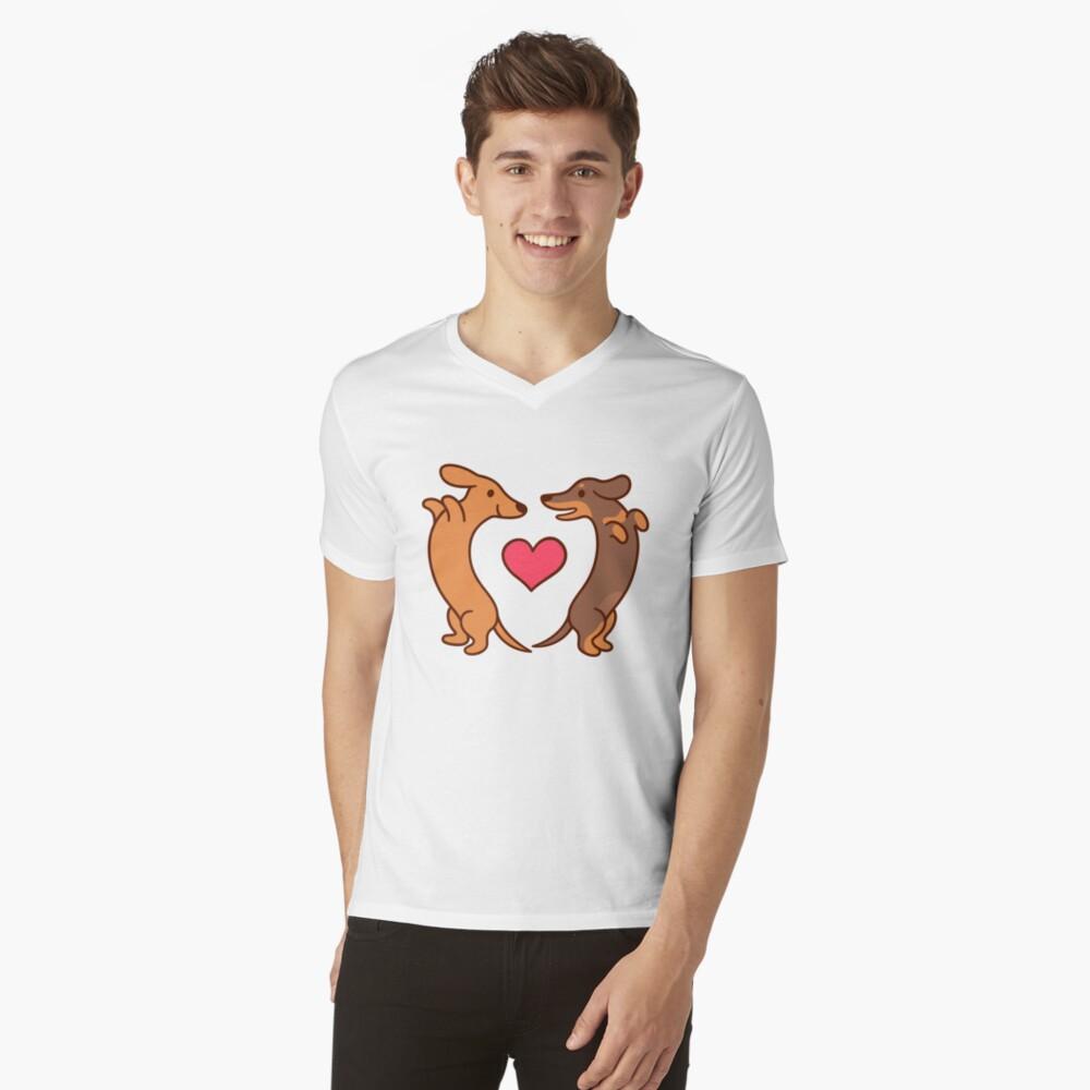 Cute cartoon dachshunds in love V-Neck T-Shirt