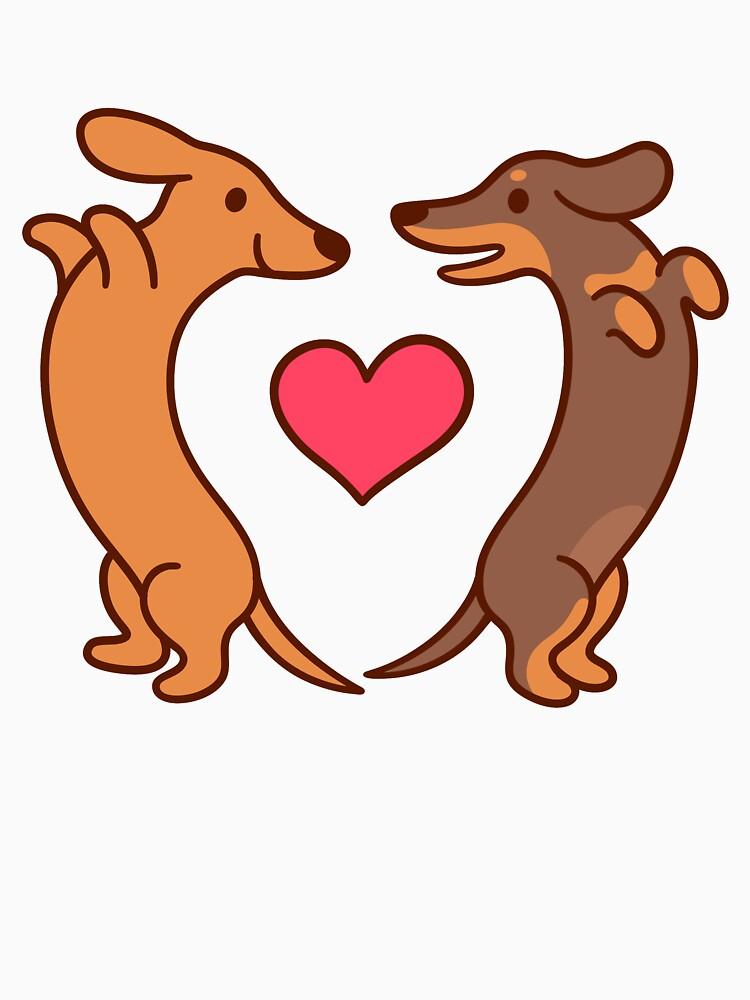 Cute cartoon dachshunds in love by irmirx