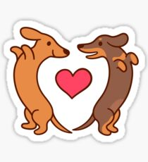 Cute cartoon dachshunds in love Sticker