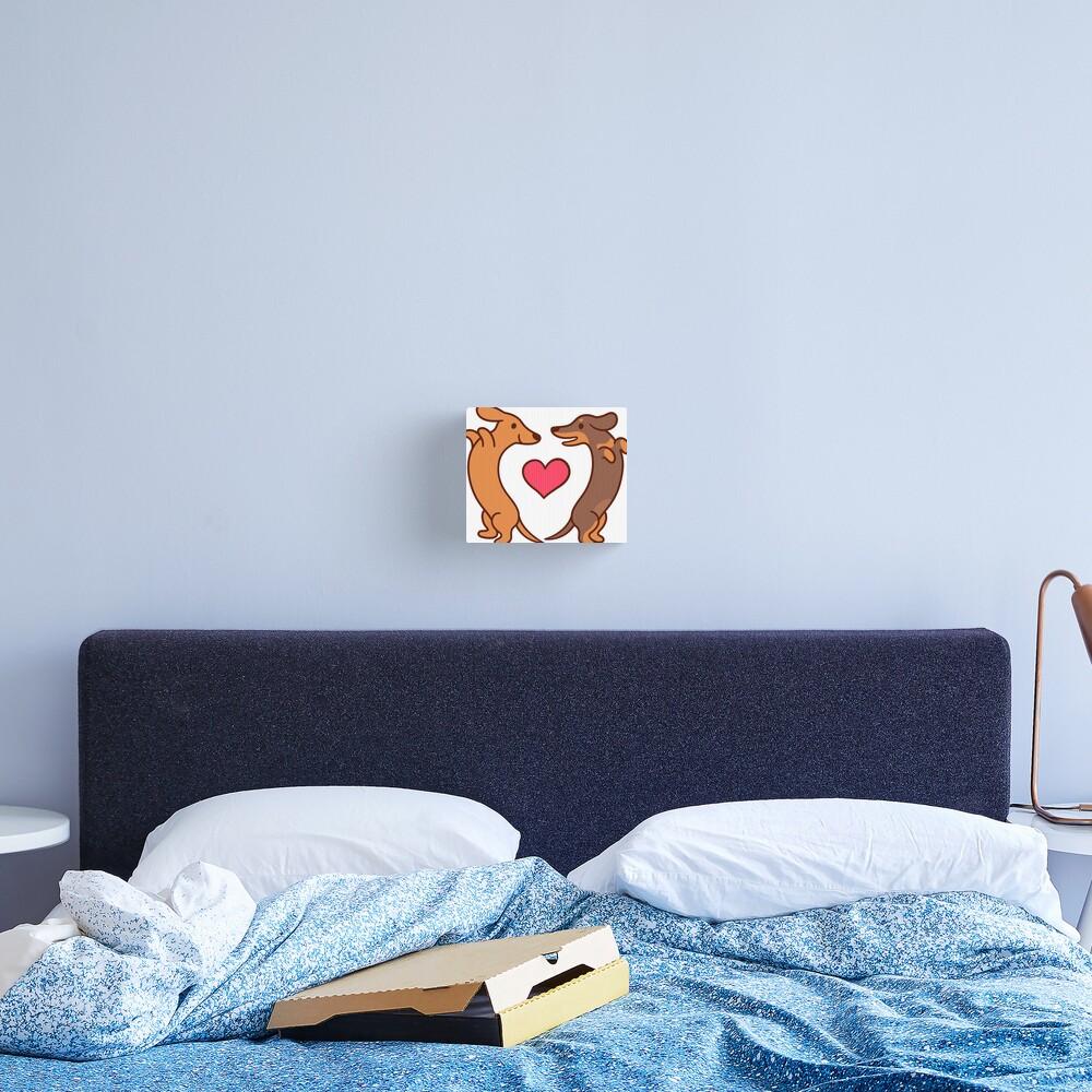 Cute cartoon dachshunds in love Canvas Print