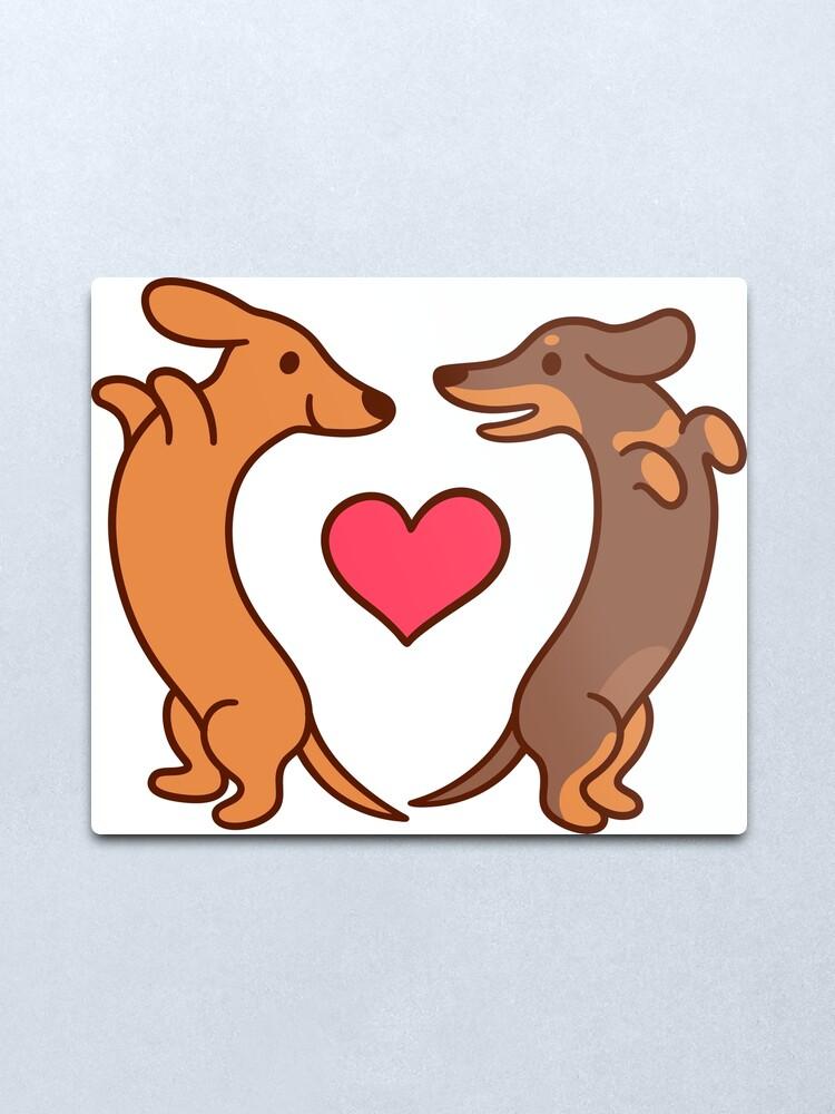 Alternate view of Cute cartoon dachshunds in love Metal Print