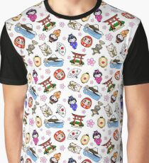 Japan Mania Muster Grafik T-Shirt