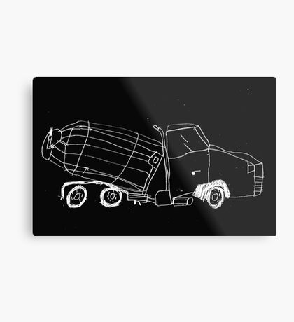 a cement mixer drawn by a kid Metal Print
