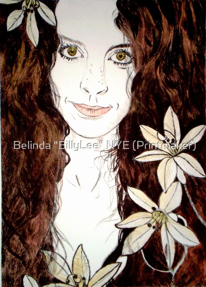 "Hippy Chick - Etching by Belinda ""BillyLee"" NYE (Printmaker)"