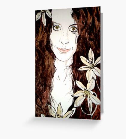 Hippy Chick - Etching Greeting Card