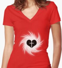 Goth faith ? (3) Women's Fitted V-Neck T-Shirt