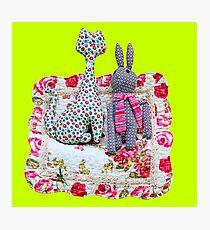 Handmade cat and rabbit toys. Photographic Print