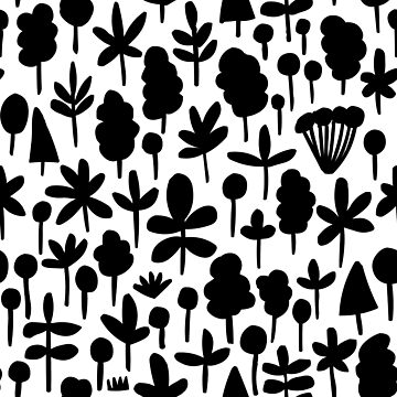 Tree and Leaf shape Pattern 051017 - Black by Artberry