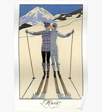 Skiing Winter kissing couple fashion illustration Poster