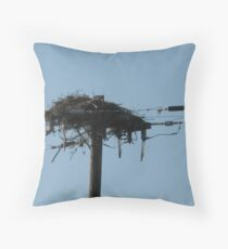 Man and Nature collide Throw Pillow