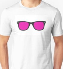 Pink glasses in black frame isolated on white. T-Shirt