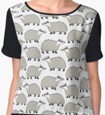 Cute European Badger - repeat pattern Chiffon Top
