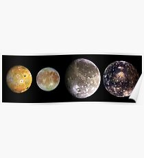 The four largest moons of Jupiter, Galilean Satellites, space Poster