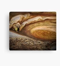 Callisto passing before Jupiter, space exploration, astronomy Canvas Print