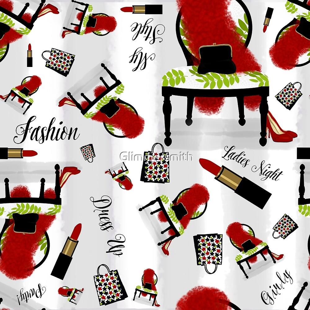 Fashion pattern, feather boa, lipstick, shopping girly print by Glimmersmith