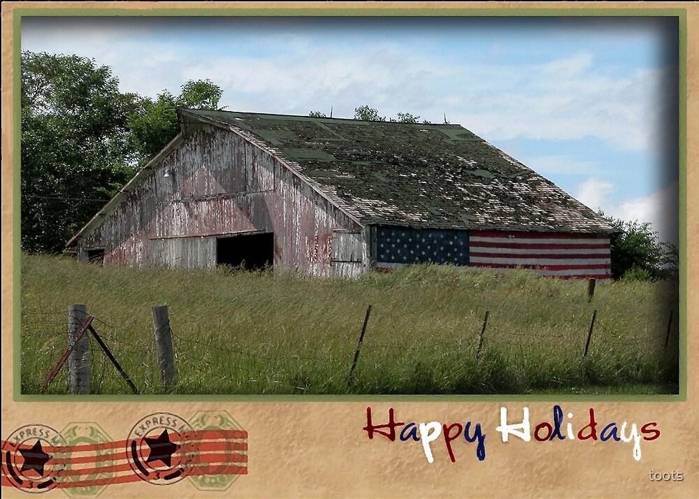 American Flag Barn, Postcard Look by toots