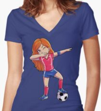 Dabbing Soccer Girl Dab Dance T shirt Funny Football Tee World Cup 2018 Women's Fitted V-Neck T-Shirt