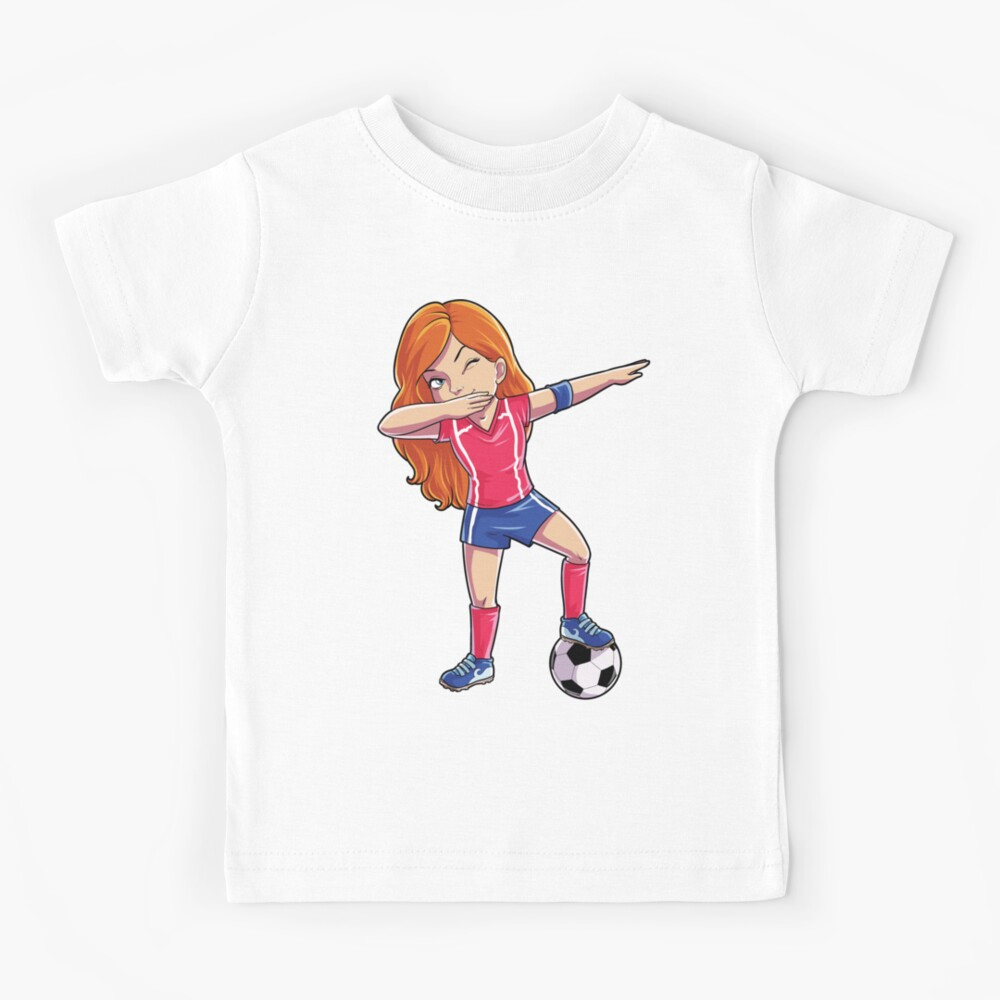 Tupfendes Fußball-Mädchen-Tupfen-Tanz-T-Shirt lustiges Fußball-T-Stück Weltcup 2018 Kinder T-Shirt