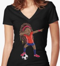 Soccer Dabbing Girl Dab Dance T shirt Funny Football Tee Women's Fitted V-Neck T-Shirt
