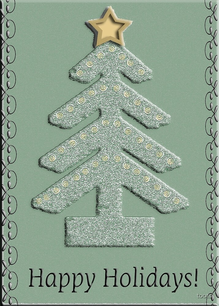 Country Style Tree with Gold Star, Happy Holidays by toots