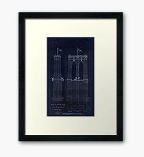 Antique Blueprint of the Brooklyn Bridge, East River Bridge Framed Print