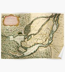 The Isles of Montreal, Canada antique map circa 1761 Poster