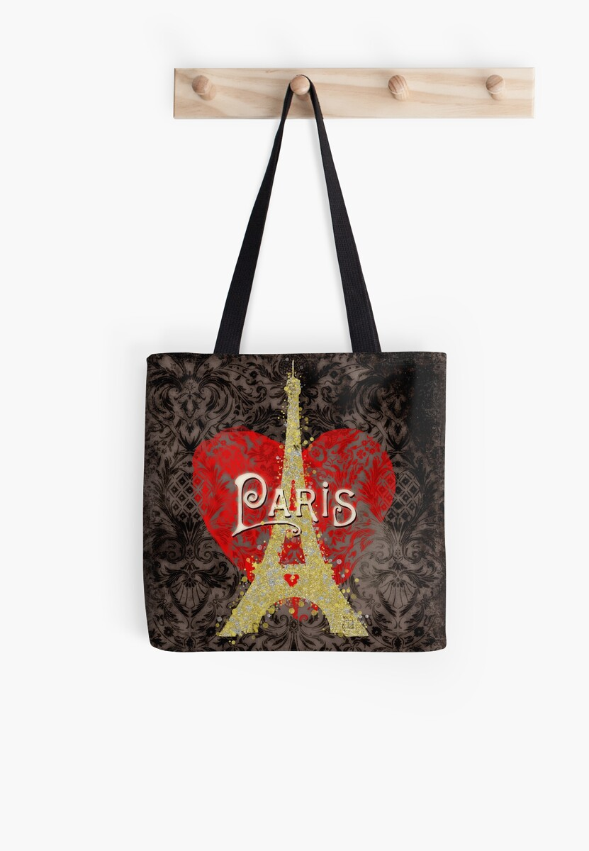 Travel Paris, modern vintage damask travel poster by Glimmersmith