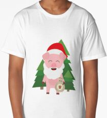 Santa Pig in Forest with Presents happy-Design Long T-Shirt