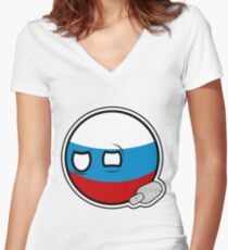 Russiaball with empty bottle | Polandball Countryball Women's Fitted V-Neck T-Shirt