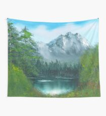 Lake by the mountain side Wall Tapestry