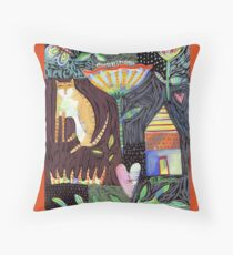 Cat House Heart Throw Pillow