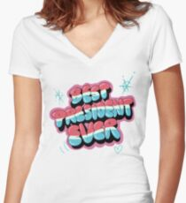Best President Ever - Rick and Morty Season 3 Women's Fitted V-Neck T-Shirt