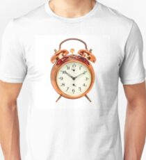 Vintage bronze alarm clock isolated on white. T-Shirt