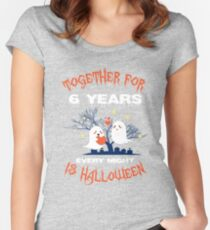 Halloween Shirt For Wife/Husband On 6th Anniversary. Women's Fitted Scoop T-Shirt