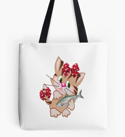 Kitty with Fish T shirt  , Tote bag and pillow (4405 Views) Tote Bag