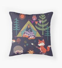 Woodland Animals Campout Throw Pillow