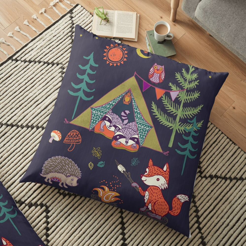 Woodland Animals Campout Floor Pillow