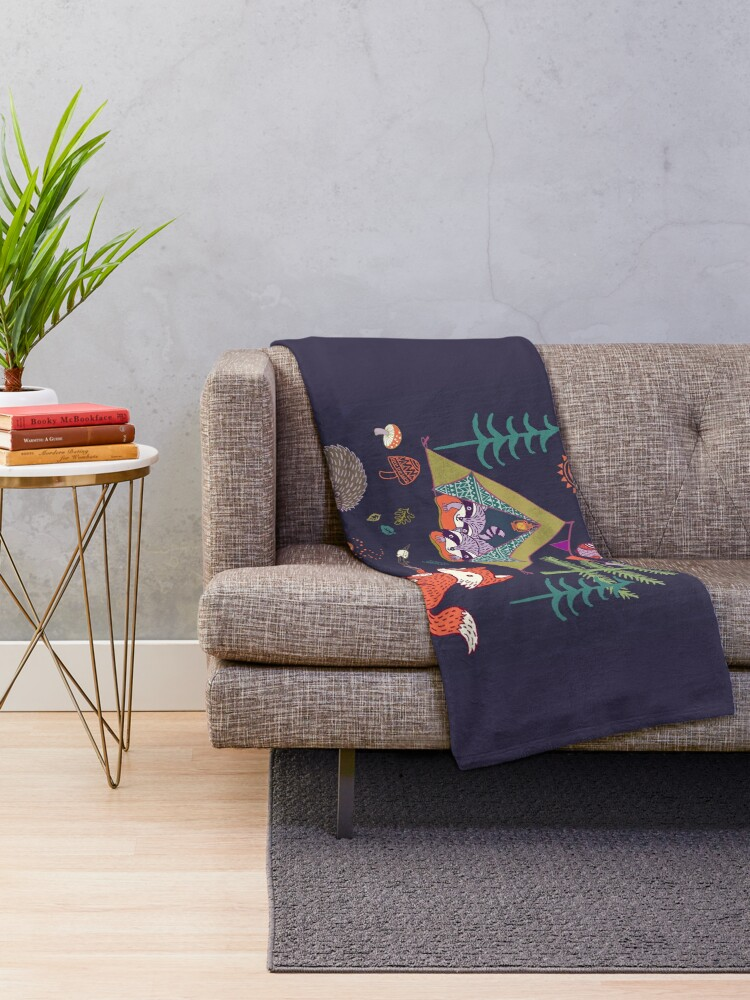 Alternate view of Woodland Animals Campout Throw Blanket