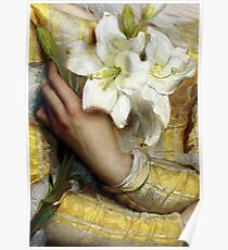 Pre-Raphaelite woman clutching white lilies detail Poster