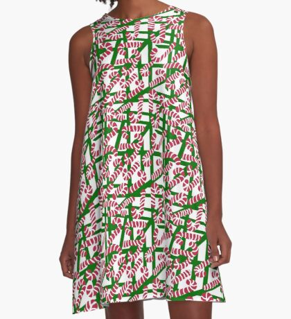 Squiggly Candy Canes A-Line Dress